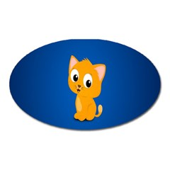 Cute Cat Oval Magnet by AnjaniArt