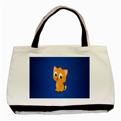 Cute Cat Basic Tote Bag (two Sides) by AnjaniArt