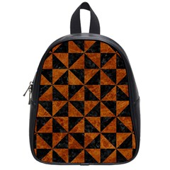 Triangle1 Black Marble & Brown Marble School Bag (small) by trendistuff
