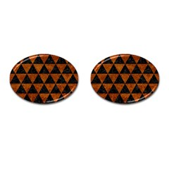 Triangle3 Black Marble & Brown Marble Cufflinks (oval) by trendistuff