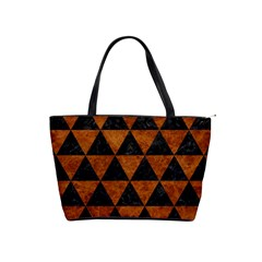 Triangle3 Black Marble & Brown Marble Classic Shoulder Handbag by trendistuff