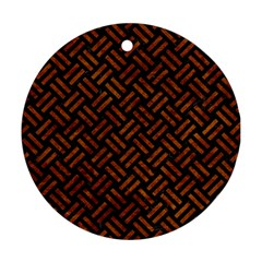 Woven2 Black Marble & Brown Marble Ornament (round) by trendistuff