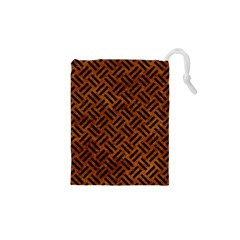 Woven2 Black Marble & Brown Marble (r) Drawstring Pouch (xs) by trendistuff