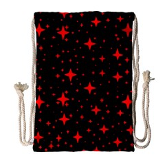 Bright Red Stars In Space Drawstring Bag (large) by Costasonlineshop