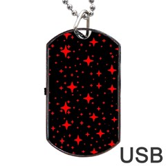Bright Red Stars In Space Dog Tag Usb Flash (two Sides)  by Costasonlineshop