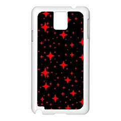 Bright Red Stars In Space Samsung Galaxy Note 3 N9005 Case (white) by Costasonlineshop