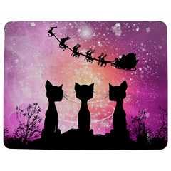 Cats Looking In The Sky At Santa Claus At Night Jigsaw Puzzle Photo Stand (rectangular) by FantasyWorld7