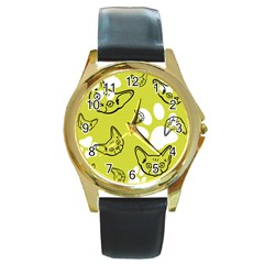 Face Cat Green Round Gold Metal Watch by AnjaniArt