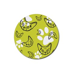 Face Cat Green Rubber Round Coaster (4 Pack)  by AnjaniArt