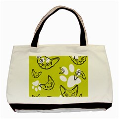 Face Cat Green Basic Tote Bag by AnjaniArt