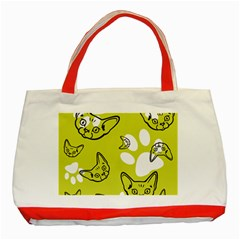 Face Cat Green Classic Tote Bag (red) by AnjaniArt