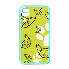 Face Cat Green Apple Iphone 4 Case (color) by AnjaniArt