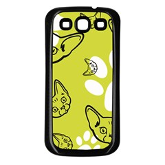 Face Cat Green Samsung Galaxy S3 Back Case (black) by AnjaniArt