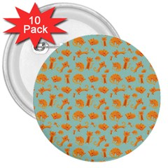 Cute Cat Animals Orange 3  Buttons (10 Pack)  by AnjaniArt