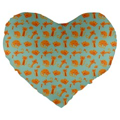 Cute Cat Animals Orange Large 19  Premium Flano Heart Shape Cushions by AnjaniArt