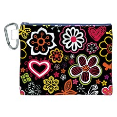 Flower Butterfly Canvas Cosmetic Bag (xxl) by AnjaniArt
