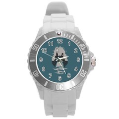 Man And Black Cat Round Plastic Sport Watch (l) by AnjaniArt