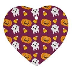 Pumpkin Ghost Canddy Helloween Heart Ornament (2 Sides) by AnjaniArt