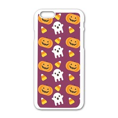 Pumpkin Ghost Canddy Helloween Apple Iphone 6/6s White Enamel Case by AnjaniArt
