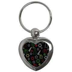 Colorful Xmas Pattern Key Chains (heart)  by Valentinaart