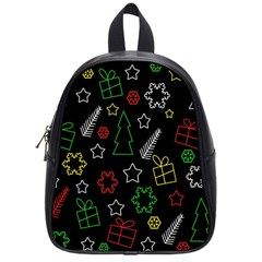 Colorful Xmas Pattern School Bags (small)  by Valentinaart