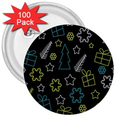 Xmas Pattern   Blue And Yellow 3  Buttons (100 Pack)  by Valentinaart