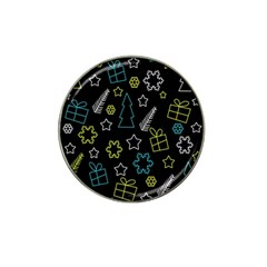 Xmas Pattern   Blue And Yellow Hat Clip Ball Marker by Valentinaart