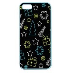 Xmas Pattern   Blue And Yellow Apple Seamless Iphone 5 Case (color) by Valentinaart