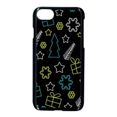 Xmas Pattern   Blue And Yellow Apple Iphone 7 Seamless Case (black) by Valentinaart