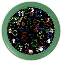 Playful Xmas pattern Color Wall Clocks