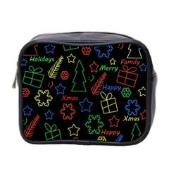 Playful Xmas Pattern Mini Toiletries Bag 2 Side by Valentinaart