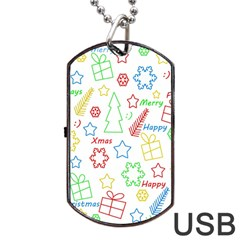 Simple Christmas pattern Dog Tag USB Flash (Two Sides)  by Valentinaart