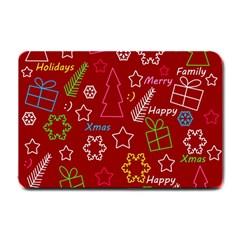 Red Xmas Pattern Small Doormat  by Valentinaart