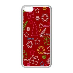 Red Xmas Pattern Apple Iphone 5c Seamless Case (white) by Valentinaart