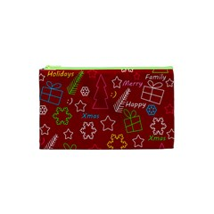 Red Xmas Pattern Cosmetic Bag (xs) by Valentinaart