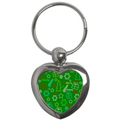Green Xmas Pattern Key Chains (heart)  by Valentinaart