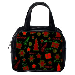 Red And Green Xmas Pattern Classic Handbags (one Side) by Valentinaart