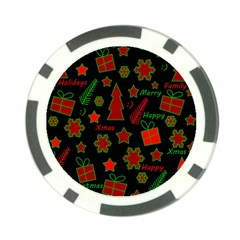 Red And Green Xmas Pattern Poker Chip Card Guards (10 Pack)  by Valentinaart