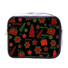 Red And Green Xmas Pattern Mini Toiletries Bags by Valentinaart