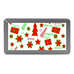 Red and green Christmas pattern Memory Card Reader (Mini) by Valentinaart