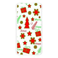 Red and green Christmas pattern Apple Seamless iPhone 6 Plus/6S Plus Case (Transparent) by Valentinaart