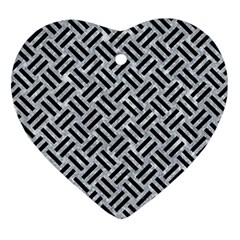 Woven2 Black Marble & Gray Marble (r) Ornament (heart) by trendistuff
