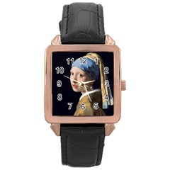 Girl With A Pearl Earring Rose Gold Leather Watch  by ArtMuseum