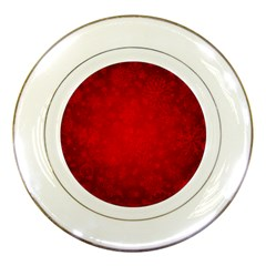Decorative Red Christmas Background With Snowflakes Porcelain Plates by TastefulDesigns