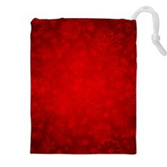 Decorative Red Christmas Background With Snowflakes Drawstring Pouches (XXL) by TastefulDesigns