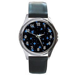 Bright Blue  Stars In Space Round Metal Watch by Costasonlineshop