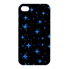 Bright Blue  Stars In Space Apple iPhone 4/4S Premium Hardshell Case by Costasonlineshop