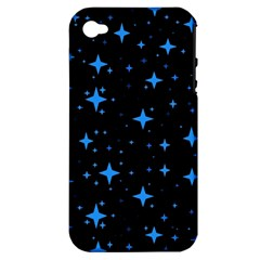 Bright Blue  Stars In Space Apple Iphone 4/4s Hardshell Case (pc+silicone) by Costasonlineshop