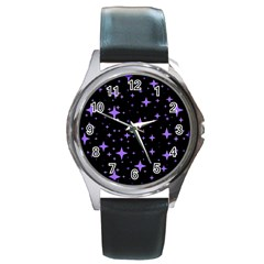 Bright Purple   Stars In Space Round Metal Watch by Costasonlineshop