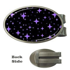 Bright Purple   Stars In Space Money Clips (oval)  by Costasonlineshop